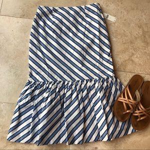 Maeve by Anthropologie Flounced Midi Striped Skirt